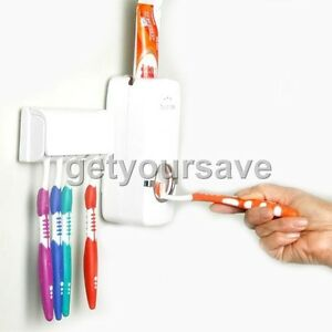 NEW-Household-Automatic-Auto-Toothpaste-Dispenser-amp-Free-Brush-Holder-White-Red