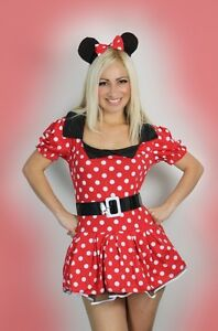 Sexy-Womens-Halloween-ladies-Minnie-Red-Mouse-Fancy-Dress-Costume-outfit-8-14