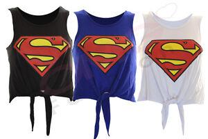 WOMENS-LADIES-SUPERMAN-CROP-TOP-TIE-TOP-SHRUG-T-SHIRT-SIZE-8-10-12-14