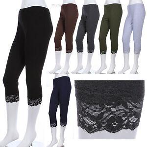 PLUS-SIZE-Plain-Capri-Leggings-with-Hem-Lace-Tights-Skinny-VARIOUS-COLOR-SIZE
