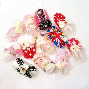 12-x-3D-False-French-Nail-Art-Tips-Pre-design-UK-Flag-Lace-Pink-Bowknot-w-Glue