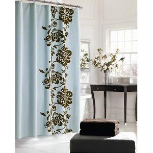 manor hill shower curtain polonaise teal blue brown floral traditional elegant ebay. Black Bedroom Furniture Sets. Home Design Ideas