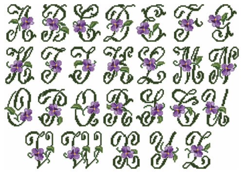 """ABC Designs Violets Font Small Machine Embroidery Cross Sttitch Designs 4/""""x4/"""""""