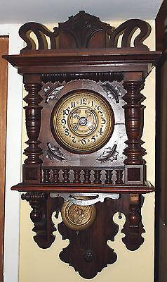 German Antique Kienzle Wall Pendumlum Clock. Early 1900's WORKS PERFECT!