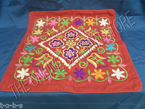 Pottery Barn Red Romania Floral Embroidered Sofa Throw