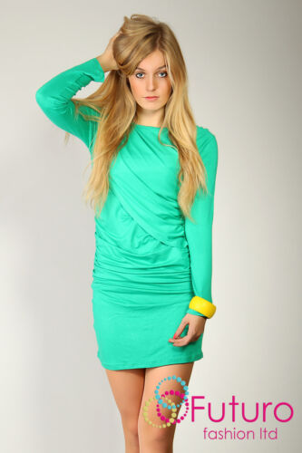 Quaint /& Unique Women/'s Crinkled Mini Dress Stretch Tunic Style Size 8-12 6401