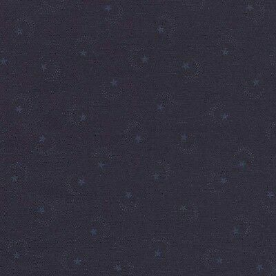 DARK ILLUSIONS STARS MOONS ON NAVY BL Cotton Fabric BTY for Quilting, Craft, Etc