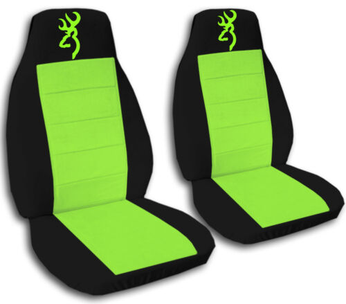 Browning Car Seat Covers in Neon Green & Black Velour Front Set
