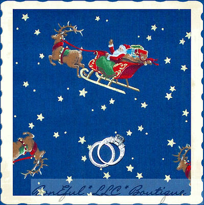 BonEful Fabric Cotton Quilt Xmas Holiday Santa Reindeer Star Gold Glitter SCRAP
