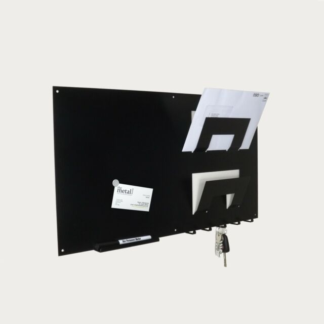 Wall Mounted Magnetic Memo Board Letter Rack And Key Hook By The Amazing Black Magnetic Memo Board