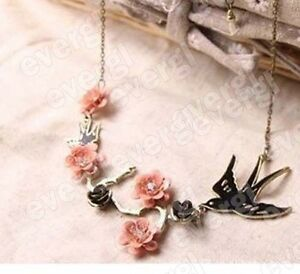 Fashion-Lucky-Gorgeous-Rose-Bird-Swallow-amp-Flowers-Crystal-Pendant-Chain-Necklace