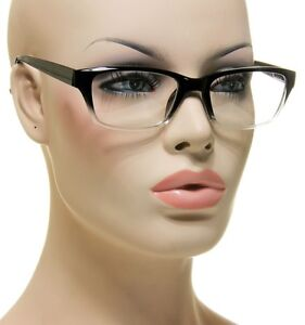 New-Womens-Rectangle-Glasses-Spring-Hinges-Black-Translucent-Clear-Eyeglasses