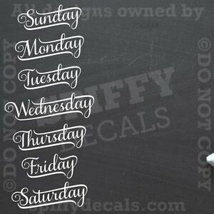 CHALKBOARD CALENDER DAYS OF THE WEEK Vinyl Wall Decal ...