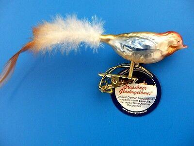 MULTI COLOR BIRD VOGEL GERMAN BLOWN GLASS CHRISTMAS ORNAMENT XL TAN TAIL