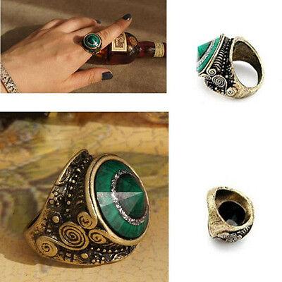 Cool! Retro Vintage Fashion Green Rhinestone Jade Metal Bronze Alloy Finger Ring