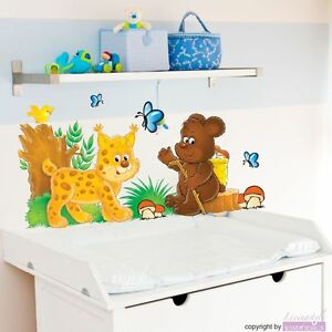 wandtattoo luchs b rchen schmetterling wiese kinderzimmer tiere wandsticker ebay. Black Bedroom Furniture Sets. Home Design Ideas