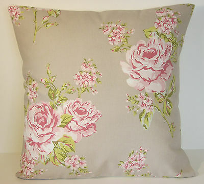 """Auction Clarke and Clarke Flora Pink Sage Roses Flowers 15"""" Cushion Cover"""