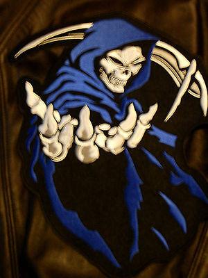 """HOODED GRIM REAPER SKULL LARGE 14""""X12"""" PATCH for BIKER LEATHER JACKET BACK blue"""