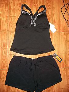 NWT-womens-swim-bathing-suit-tankini-shorts-2X-XXL-22W-22-plus-black-92-instore