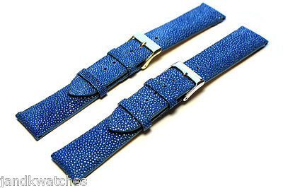 Blue Genuine Stingray Skin Watch Strap