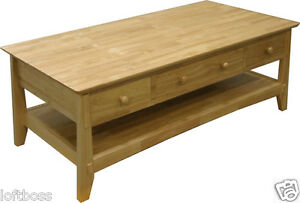 Sold Wood Mission Style Coffee Table With Drawers Natural New 21514 14 Ebay