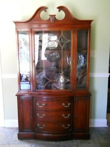 Vintage Mahogany Dining Room China Cabinet Breakfront Chippendale Style EBay