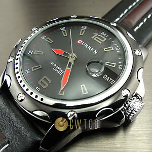 NEW-DIAL-CLOCK-HOURS-HAND-DATE-WATER-BLACK-BROWN-LEATHER-MEN-WRIST-WATCH-WP136