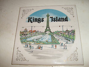 Vintage-70s-Kings-Island-Theme-Park-Souvenir-Ceramic-Wall-Plate-ExC-Video