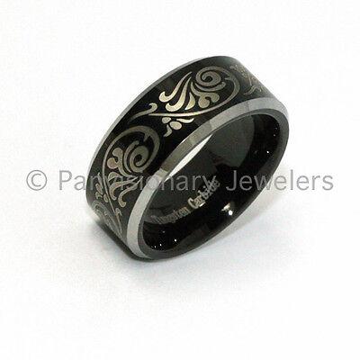 8mm Tungsten Carbide Ring Black Etch Florentine Bevel Edges Size 6 Remains