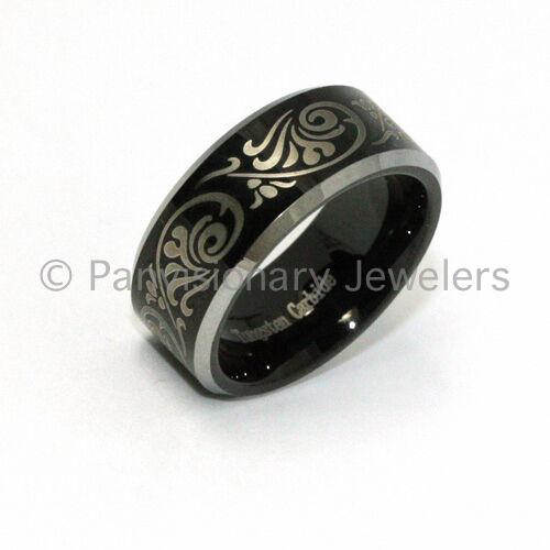 8mm Tungsten Carbide Ring Black Etch Florentine Bevel Edges Size 6