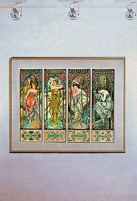 Times of the Day 15x22 Art Deco Nouveau Print Mucha Hand Numbered Edition