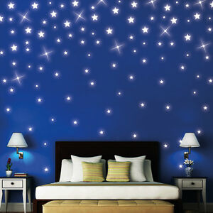 wandtattoo 100 stk leuchtende fluoreszierende sterne sternenhimmel kinderzimmer ebay. Black Bedroom Furniture Sets. Home Design Ideas