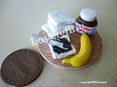 Miniature Yummy Food: Set of Nutella with breads Free shipping