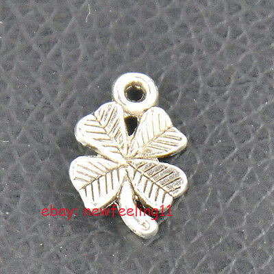 100pcs Tibetan Silver Luck Four Leaf Clover Charms Beads Pendant Free Shipping