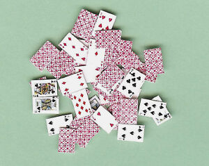 DOLLHOUSE-MINIATURES-DECK-OF-PLAYING-CARDS-GAMES-RED-BACK-Jacqueline-039-s