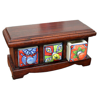 24812 Jewellery Box 3 Drawer Chest Dark Wooden Ceramic Drawers Colourful Designs