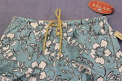 TOMMY BAHAMA RELAX Mens BONDI BEACH CHESTWATER AQUA BLUE SWIMSUIT NWT S  28 - 30
