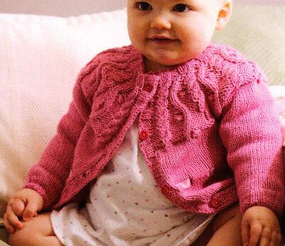 "Cable Yoke Baby Cardigan 16"" - 22"" Ribbon Trim DK Knitting Pattern"