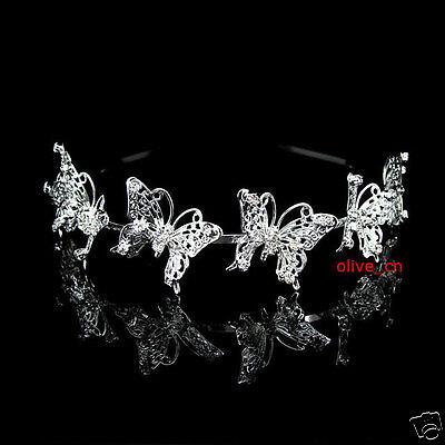 6 Big Butterfly Bridal Bridesmaid Prom Party Crystal Tiara Headband