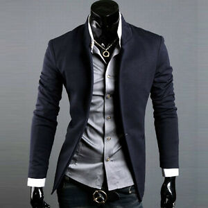 Korean Fashion Men's Casual Slim Fit Suit Sport Coat Blazer Jacket ...