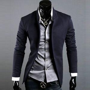 Korean Fashion Men's Casual Slim Fit Suit Sport Coat Blazer Jacket ...