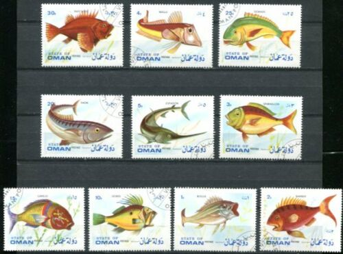 OMAN 1972 EXOTIC FISH SET OF TEN COMPLETE!