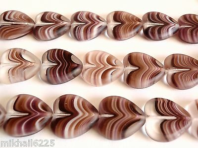 10 15x15mm Window Heart Beads: Dark Amethyst/White