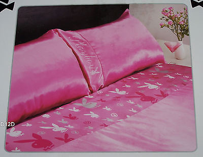 Playboy Bunny Pink Printed Queen Bed Satin Fitted Sheet Set New