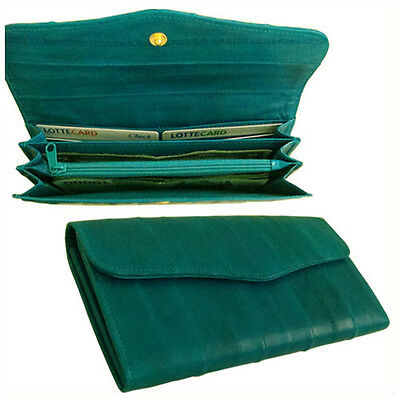Genuine Eel Skin Leather Standard Button large Wallet Purse (Teal)