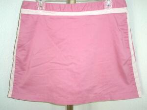 Lovely Womens Pink Adidas Stretch Tennis Skort Pleated Back Side Stripes Sz 10