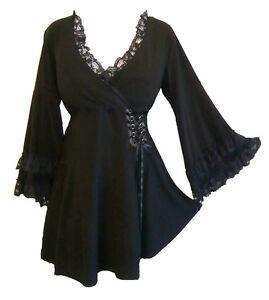 RENAISSANCE-Gothic-Peasant-VICTORIA-Womens-Asym-Corset-Plus-Size-Top-1XL-5XL
