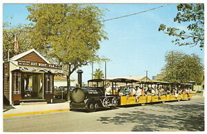1960-039-s-Key-West-FL-Florida-DEPOT-amp-CONCH-TOUR-TRAIN-Photo-Advertising-Postcard