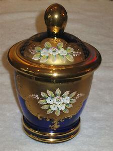 """Antique/Vintage Cobalt Glass Enamel-Decorated Covered Jar/Vase 5"""" Height & Diam."""