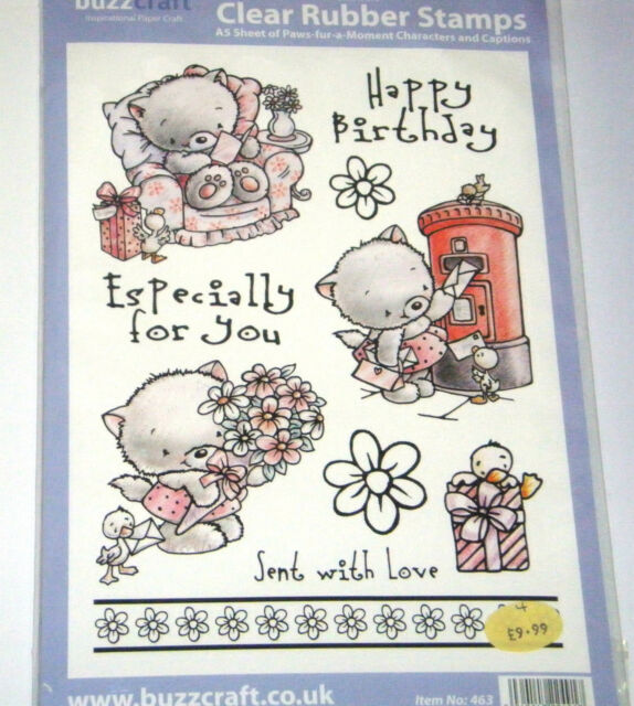 Clear rubber stamp 10 set Buzzcraft 'Paws fur a moment' Birthday flowers love